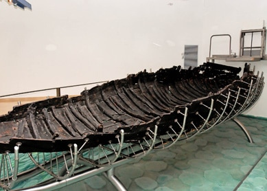 First-Century Galilee Boat Galilee Boat, circa first century C.E. Cedar, pine, jujube, willow, and oak, Yigal Alon Museum, Kibbutz Ginosar, Israel.  The Galilee Boat is a 2,000-year-old fishing vessel recovered from the mud bottom of the Sea of Galilee in 1986.